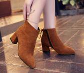 靴子 尖頭粗跟馬丁靴高跟鞋短靴特大號40 41 42 43 44 特大碼女靴  瑪麗蘇