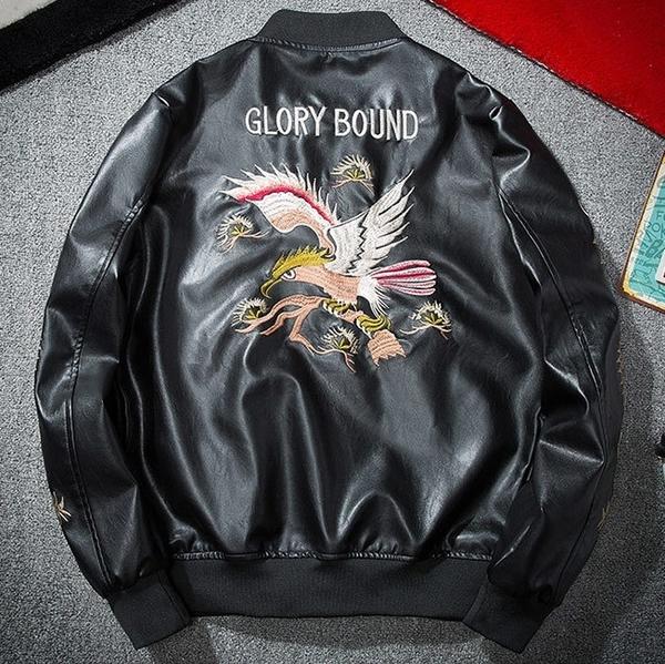 空軍夾克 MA1-復古刺繡修身立領飛行員男軍裝外套73pf23【巴黎精品】