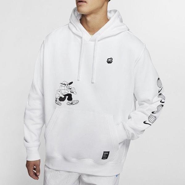 【現貨】NIKE NSW 男裝 長袖 連帽 帽T 休閒 刷毛 卡通 地球人 白【運動世界】CK2992-100