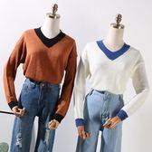 秋季款時尚百搭拼色V領個性長袖針織衫女