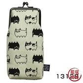 【日本製】 貓帆布系列 口金眼鏡包 貓咪三兄弟圖案 灰色 SD-7054 - 日本製 貓帆布系列