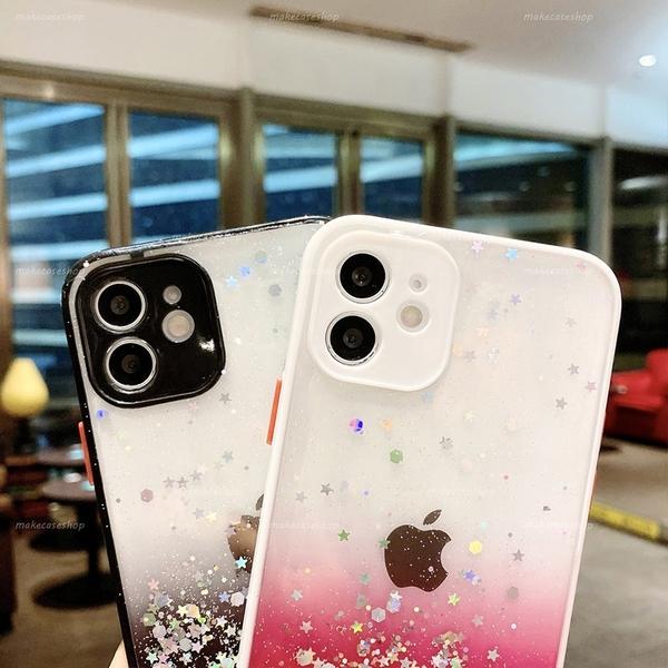 漸層星空閃粉|蘋果 12 11 Pro max iPhone12 mini 透明防摔殼 手機殼 獨立靈敏按鍵 閃亮 殼 糖果色系邊框