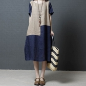 初心 短袖洋裝 【D8753】 簡約 短袖 超薄 撞色 棉麻 中大尺碼 連身裙 寬鬆 文藝