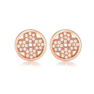 耳環 玫瑰金純銀鑲鑽銀飾-創意設計生日情人節禮物女飾品73dy92【時尚巴黎】