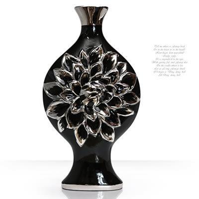 陶瓷鍍銀黑底大薔薇花器
