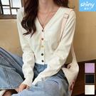 【V3409】shiny藍格子-簡約時尚‧彩色釦V領短款針織防曬外套