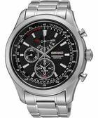 【僾瑪精品】SEIKO 黑色風暴 萬年曆鬧鈴計時腕錶-黑x銀/44mm 7T86-0AC0D(SPC127P1)