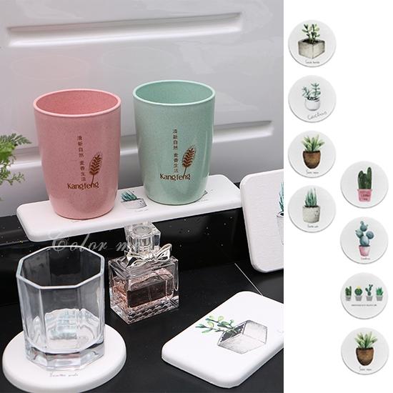 硅藻土 杯墊 皂墊 辦公桌 洗手台 浴室  防滑墊 矽藻土 北歐圓款硅藻土杯墊【N092】米菈生活館