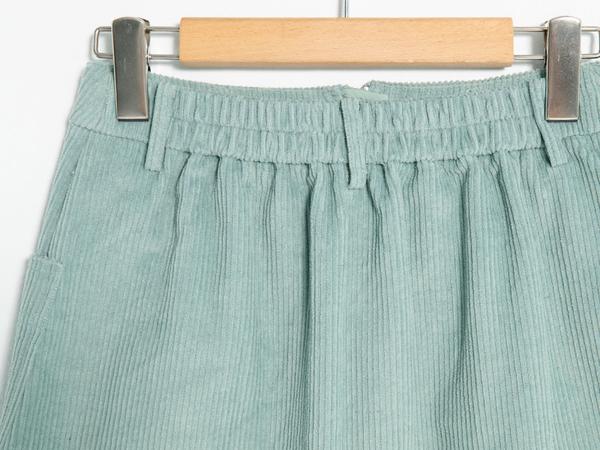 秋冬下殺↘5折[H2O]A字中間拉鍊設計細條絨布短裙 - 黃/綠/藍/粉色 #9652012