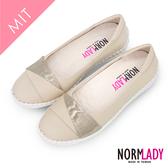 女鞋 避震氣墊 休閒鞋 娃娃鞋 皮革拼接金屬真皮磁力厚底球囊鞋-MIT手工鞋(米白金) Normlady 諾蕾蒂