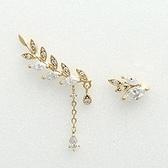 耳環 925純銀鑲鑽-不對稱葉子生日情人節禮物女耳飾3色73du1[時尚巴黎]