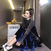 兩件套連衣裙女春秋中長款金絲絨吊帶裙韓版春裝新款時尚套裝 瑪麗蘇