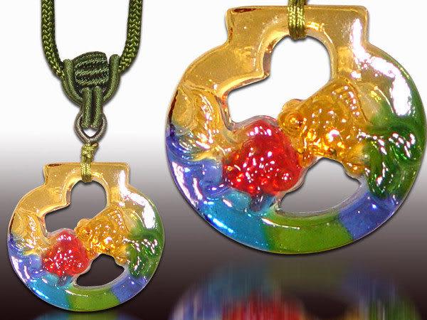鹿港窯~居家開運水晶琉璃項鍊~金魚 附精美包裝 ◆免運費送到家