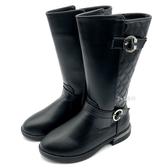 《7+1童鞋》中大童 幾何菱格紋 皮靴  長靴  A757  黑色