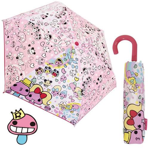 【日本進口正版】日本 奇怪的蘑菇 輕量型 晴雨傘 折疊傘 附傘套 Ranzuki - 051825