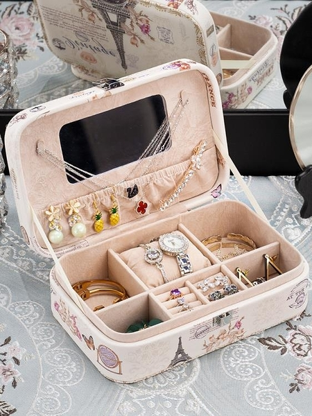 降價兩天 點點集首飾盒皮革公主歐式飾品盒手飾簡約耳環耳釘戒指首飾收納盒