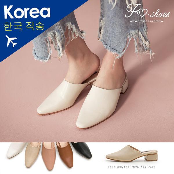 穆勒鞋.小方頭低跟穆勒鞋(黑、粉)-FM時尚美鞋-韓國精選.Spring