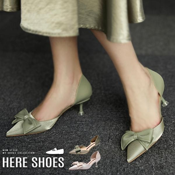 [Here Shoes] 6cm跟鞋 優雅氣質蝴蝶結緞帶 皮革尖頭細跟高跟鞋 婚禮鞋-KC688-1