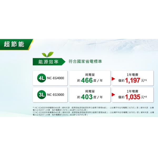 24期零利率 Panasonic 國際牌 NC-EG4000 熱水瓶 4L 公司貨