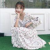韓版小清新碎花喇叭袖長裙甜美高腰顯瘦連身裙 【米蘭街頭】