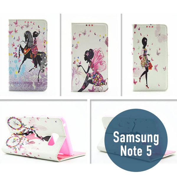 SAMSUNG 三星 Note 5 蝶戀花水鑽皮套 側翻皮套 插卡 手機套 保護套 手機殼 手機套 皮套