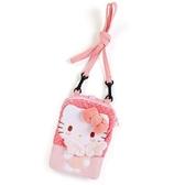 〔小禮堂〕Hello Kitty 造型絨毛斜背觸控手機包《粉.翅膀》斜背包.側背包.相機包 4548643-12282