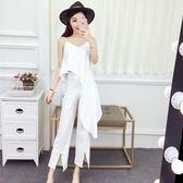 套裝女夏2018新款韓版氣質吊帶闊腿褲女神范時尚漏肩網紅兩件套女
