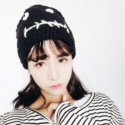 針織毛帽-韓版個性搞怪表情女毛線帽2色73ie51[時尚巴黎]