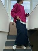 馨幫幫Sinbounboun自制 韓版直筒A字開叉中長款藍色牛仔半身裙女