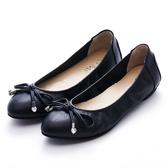 G.Ms. MIT系列-牛皮蝴蝶結綴愛心鑽小尖頭娃娃鞋-黑色