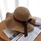 沙灘帽子草帽森女夏天韓版百搭遮陽帽防曬遮臉出游海邊度假太陽帽