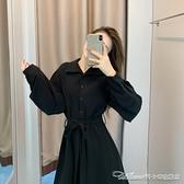 洋裝黑色長袖洋裝子秋冬季新款女裝長裙收腰顯瘦顯高氣質小眾 阿卡娜