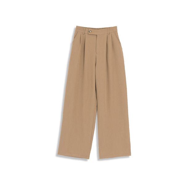 Queen Shop【04110236】打摺腰頭設計寬西褲 三色售 S/M*現+預*