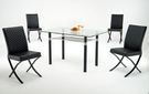 HY-752-5    A3玻璃長桌 / 洽談桌 / 餐桌 -8mm強化-烤黑-單台