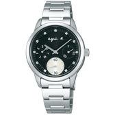【僾瑪精品】agnes b. 黑白時尚晶鑽三眼錶-銀x黑/VD75-00A0D(BP6001J1)