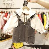 女童牛仔背帶裙小女童春裝連身裙女嬰兒吊帶裙子【奇趣小屋】