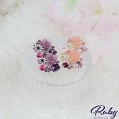耳環 韓國直送‧方塊水鑽花朵耳環-Ruby s 露比午茶