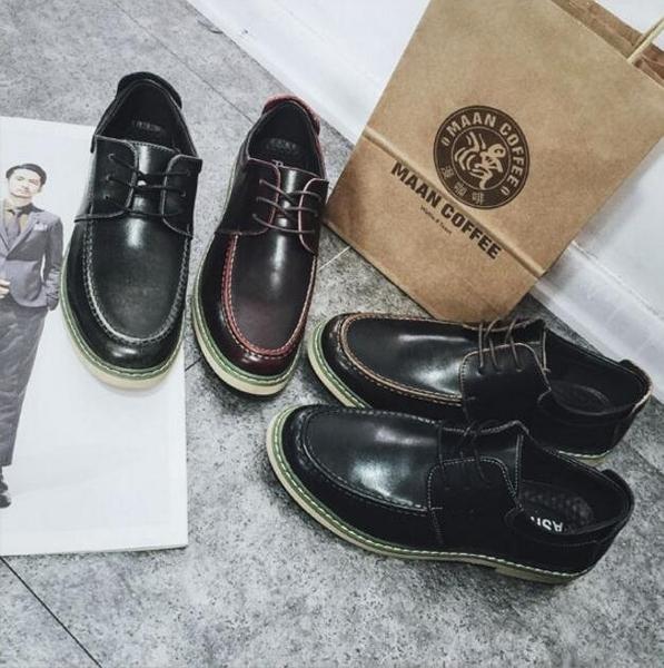 FINDSENSE品牌 簡約舒適皮質 男休閑皮鞋 英倫 發型師單鞋 休閒鞋