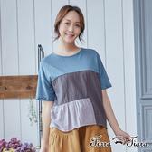 【Tiara Tiara】三色拼接半袖上衣(藍/黑)