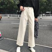 牛仔褲女風高腰直筒闊腿九分初戀褲