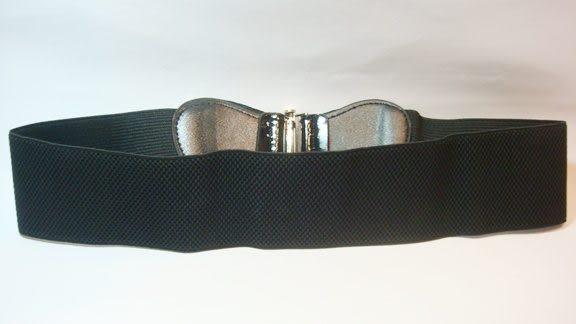 女腰帶   寬版伸縮大蝴蝶環扣 ( 黑 )