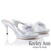 ★2019春夏★Keeley Ann氣質名媛 時尚透明膠片高跟拖鞋(銀色)
