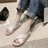 兩穿交叉涼拖鞋涼鞋女平底夏季果凍運動羅馬 樂淘淘