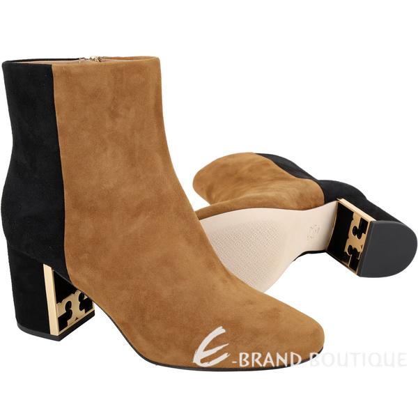 TORY BURCH Gigi T字金屬框粗跟撞色麂絨短靴(深駝) 1940040-B3