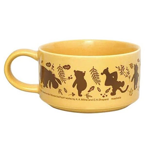 小禮堂 迪士尼 小熊維尼 日本製 單耳陶瓷碗 (黃影子款) 4939560-52556