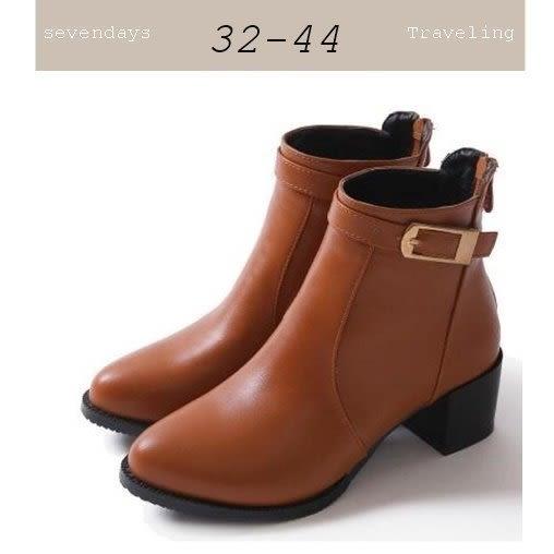 大尺碼女鞋小尺碼女鞋小尖頭圓頭素面扣帶裝飾粗跟短靴裸靴女靴馬丁靴黃色(32-44)現貨