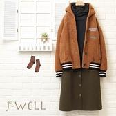 泰迪熊毛毛織標外套排釦A字裙二件組(組合621A 8W6332咖+7J25B3綠)