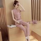 連身褲 2020夏裝新款V領短袖網紗鏤空七分褲套裝條紋顯瘦