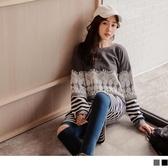 《DA7121-》拼接蕾絲絨毛條紋洋裝 OB嚴選