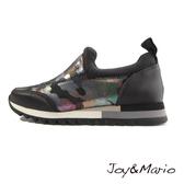 【Joy&Mario】炫麗迷彩花紋燙金布運動休閒鞋 - 75012W BLACK